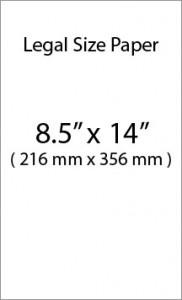 Legal size paper in inches and millimeters